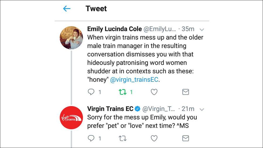 Gasp blog virgin trains tweet