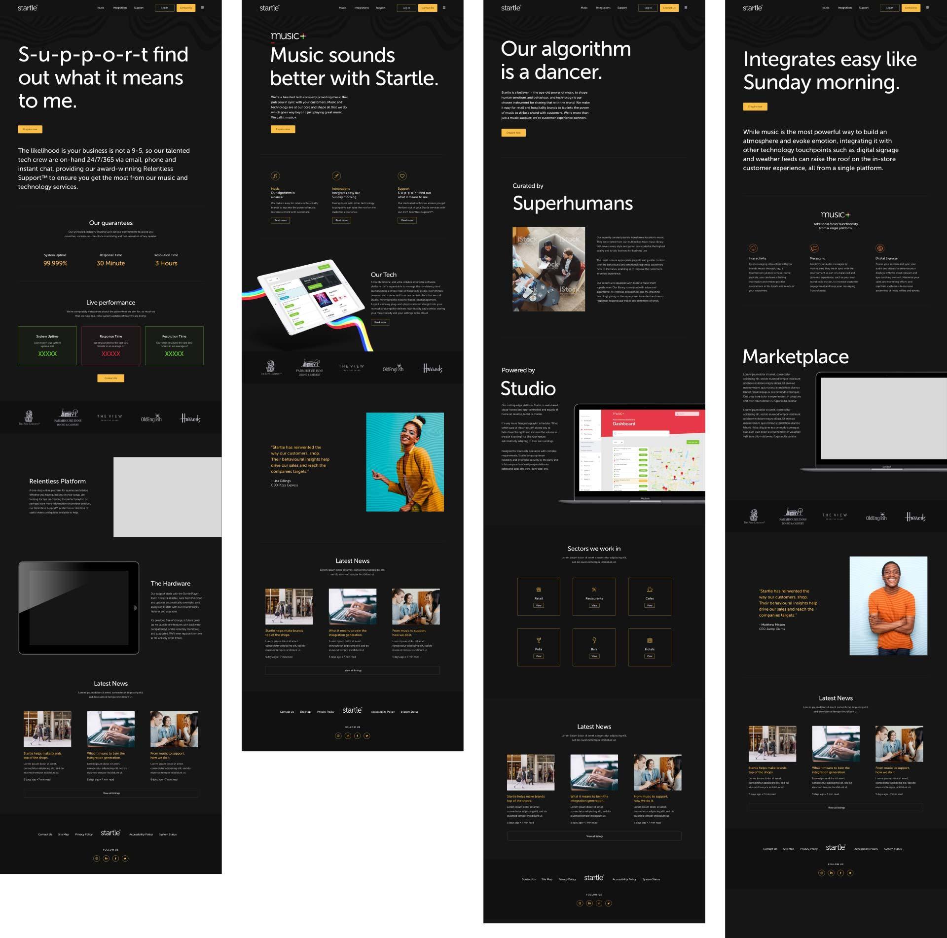 Startle music brand website